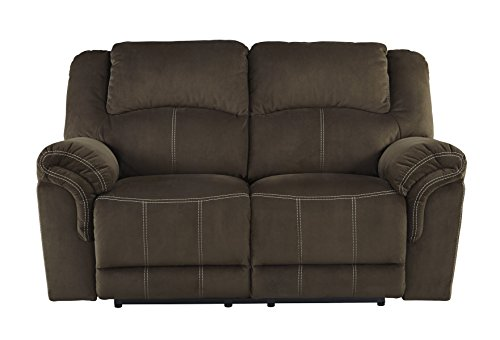 Quinnlyn Contemporary Coffee Microfiber Reclining Power Loveseat