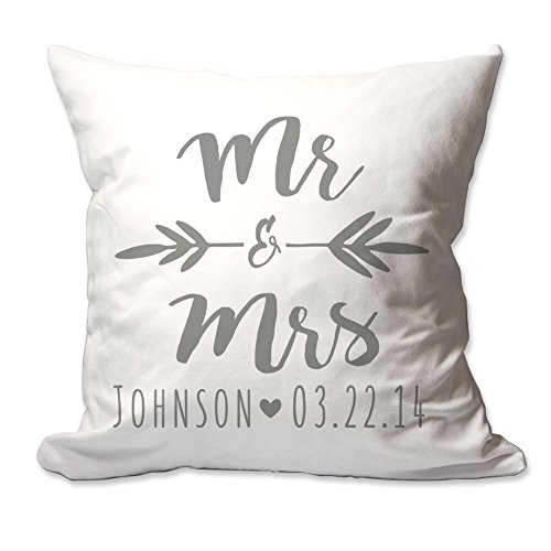 Pattern Pop Personalized Brush Script Mr. & Mrs. Throw Pillow -