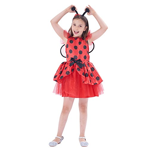 Ladybug Costume, Girls Halloween, Masquerade Party Suits Role Play & Dress Up, 3Pcs (dress, wings, headband) (10-12Y) -