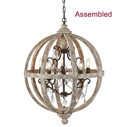 CLAXY Weather Wooden Globe Chandelier Rustic Metal Crystal Hanging Light Fixture-5 Light-Assembled