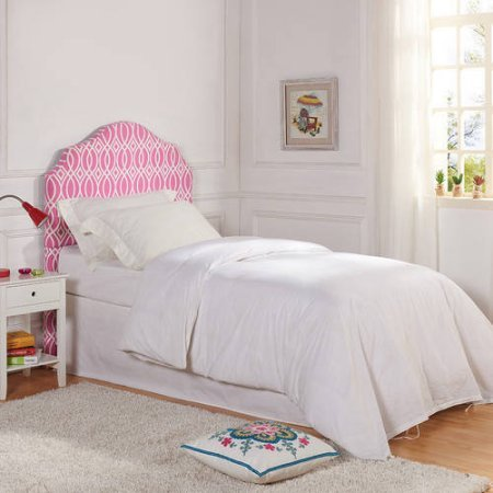 Better Homes and Gardens Kids Upholstered Headboard Polyester Fabric (Twin, Irongate Pink)