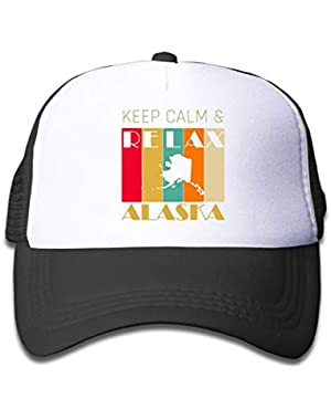 Keep Calm & Relax Alaska On Kids Trucker Hat, Youth Toddler Mesh Hats Baseball Cap