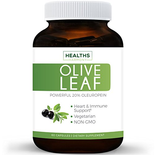 Best Olive Leaf Extract (NON-GMO) Super Strength: 20% Oleuropein - 750mg - Vegetarian - Immune Support, Cardiovascular Health & Antioxidant Supplement - No Oil - 60 Capsules (Pay Less Pumps)