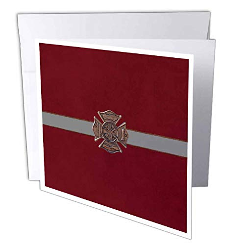 3dRose Beverly Turner Firefighter Design - Metal Look Firefighter Emblem Design, Gray Ribbon Look on Red - 1 Greeting Card with Envelope (gc_308924_5)