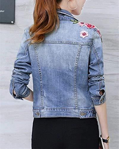 Lunga Coat Breasted Giaccone Floreale Con Moda Giacche Jeans Aspicture Ricamo Tasche Manica Giovane Donna Corto Confortevole Elegante Autunno Cappotto Bavero Single qw7xzvHx