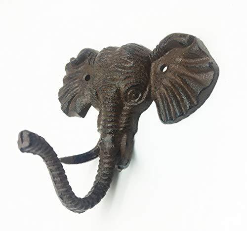 Cast Iron Wall Hanger Vintage Design Hooks Keys Towels Hook Metal Wall Mounted Heavy Duty Decorative Gift Idea (Elephant) by Grace Home