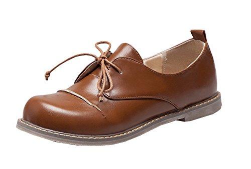 Chaussures Brun Femme Bas Fermeture À D'orteil Lacet Talon Voguezone009 Légeres 1wCxq4RZZ