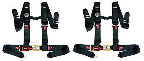 Tanaka Latch and Link 4 Point Safety Harness Set with Ultra Comfort Heavy Duty Shoulder Pads and Utility Pockets Ideal for UTV and Sand Sports PAIR - Safety 4 Harness Point