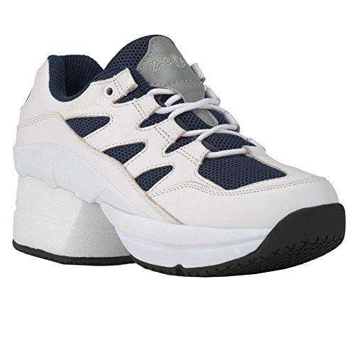 f7bab23b39a1 Z-CoiL Pain Relief Footwear Men s Freedom Slip Resistant Enclosed CoiL  White-Navy Leather