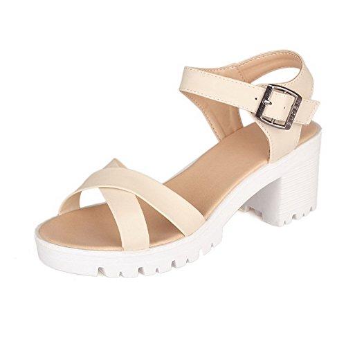 Allhqfashion Femmes Pu Chaton Talons Bout Ouvert Boucle Solide Plate-formes-sandales Beige