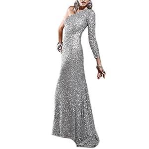 52e1d17cde01 BEAUTBRIDE Women's One Shoulder Sequin Mermaid Evening Dress Long Sleeve  Formal