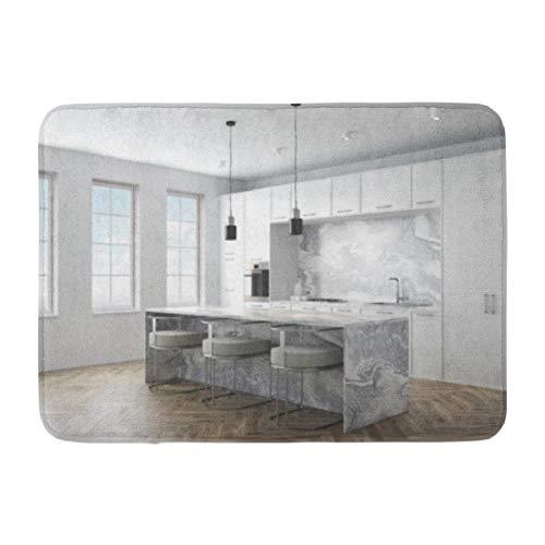 Marbles,Darkchocl Decorative Bath Mat Kitchen Interior with Wooden Floor Marble Absorbent Non Slip 100% Flannel 17''L x 24''W for Bathroom Toilet Bath Tub Living Room