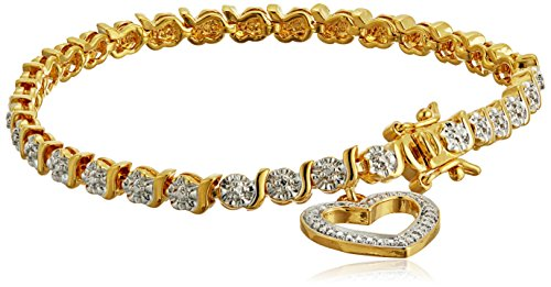 18k Yellow Gold Plated Bronze Diamond Accent Open Heart Tennis Bracelet, 7.25