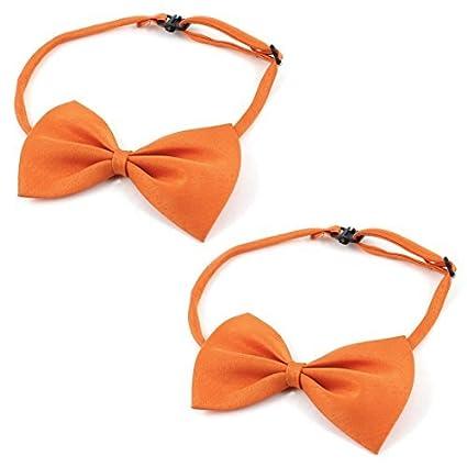 eDealMax 2 piezas Collar de perro doméstico del gato de accesorios Pajarita, Naranja