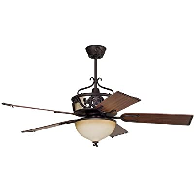 "Ellington LS52ABZ5LK Lonestar Ceiling Fan with Classic Walnut and Rope Blades, 52"", Aged Bronze Brushed"