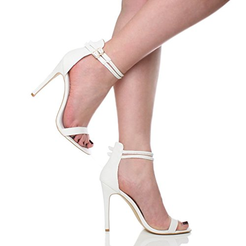 There Barely Women Strappy Shoes High White Sandals Matte Heel Ajvani Size xw6qFXRII