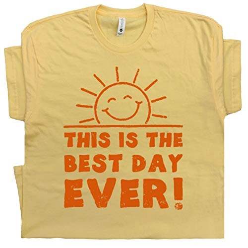 (L - Best Day Ever T Shirt Funny Cool Vintage Graphic Tee with Saying Cute Retro Novelty for Men Women Kid Yellow)