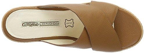 Sandalen Leather 6314 Tan Braun mit Buffalo Damen 315 01 Keilabsatz Offene Cow xwZS4IY4q