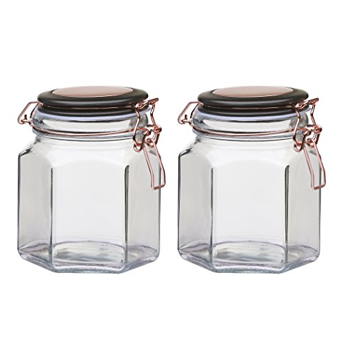 - Amici Home, 7CN137S2R, Adler Collection Hermetic Preserving Glass Canister, Hexagonal Faceted Body, Black and Copper Lid, Food Safe, 32 Ounces (Small) Set of 2