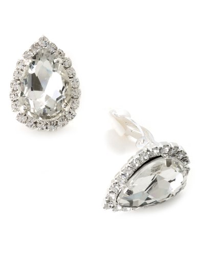 Silver Crystal Rhinestone Wrap with Crystal Teardrop Center Clip Earrings