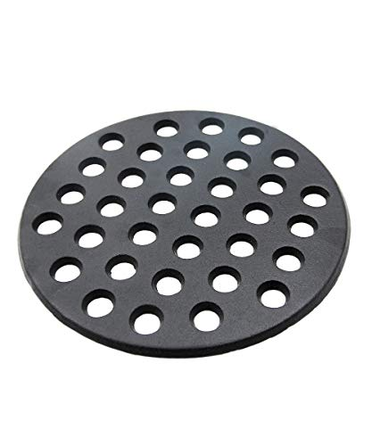 Round cast iron grate Dracarys bbq high heat charcoal plate fit for large big green egg fire grate and big kamado joe grill parts charcoal grate replacement parts green egg xl accessories-9inch LFGC