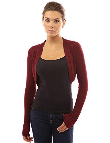 pattyboutik femme gilet bolero en tricot bordeaux 40 fringues pour femmes. Black Bedroom Furniture Sets. Home Design Ideas