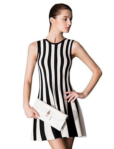 PU&PU Robe Aux femmes Gaine Simple,Rayé Col Arrondi Mini Coton , black-xl , black-xl