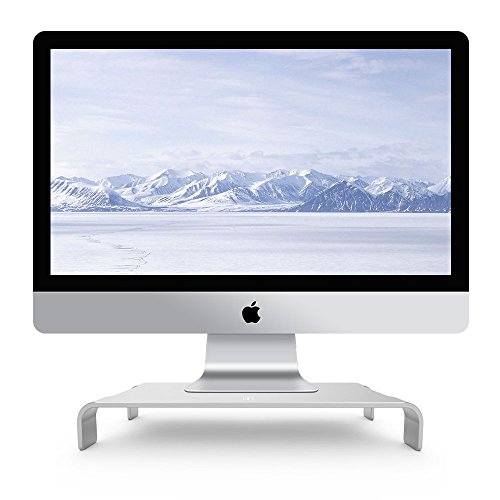 iQunix Spider Thick Aluminum Monitor Stand Computer Riser Elegant Silver Holder for Monitor / Laptop / iMac / MacBook / PC with Keyboard Storage