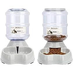 Old Tjikko Water Feeder for Dogs,1 Gallon Feeding Waterer Supplies,Automatic Dog Water Feeder Dispenser