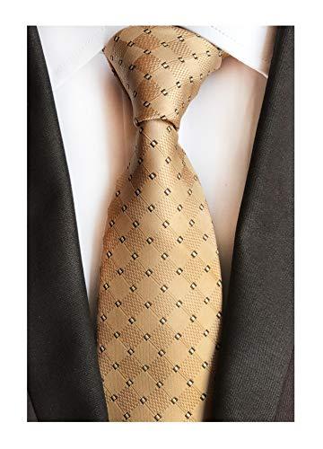 (Men Brass Bronze Ties Check Plaid Fashion Woven Silk Party Tuxedo Necktie Gifts)