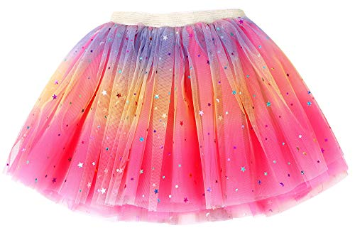 - Simplicity Girls Tutu Rose Rainbow Princess Ballet Toddler Tutu for 2-8 Years