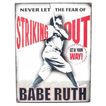 Babe Ruth Never Fear Striking Out Wall Art Wall Plaque Home Decoration Theater Media Room Man Cave (Ruth Rules Baseball Babe)