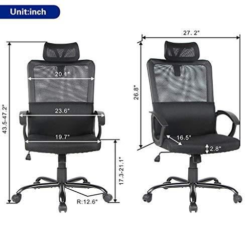 Smugdesk Ergonomic Office Chair Adjustable Headrest Mesh Office Chair Office Desk Chair Computer Task Chair (Black) - 2579 Photo #3