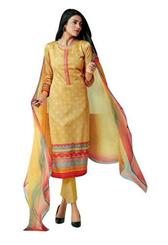 Ladyline Bandhani Print & Embroidery Cotton Salwar Kameez Suit Indian Dress Embroidered (Size_50/Yellow)