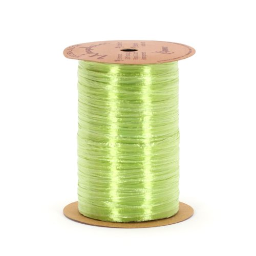 Berwick Offray Pearlized Green Raffia Ribbon, 1/4'' Wide, 100 - Rayon Pearlized Raffia Ribbon