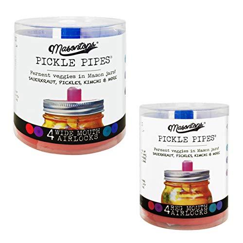 Masontops Pickle Pipes - Waterless Airlock Fermentation Lids - Wide and Regular Mouth Mason Jar Fermenter Caps - Premium Silicone