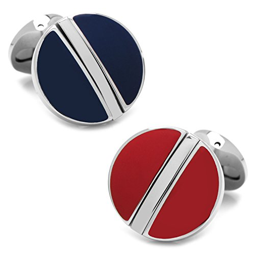 CUFFLINKS INC Stainless Steel Reversible Blue and Red Cufflinks (Multi)
