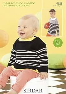 Sirdar de peluche con proyector de bebé de bambú DK - 4628 patrón para tejer Jersey