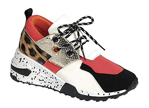 - LuxeFootwear Too Fabulous for The Gym Women's Fashion Forever Hybrid Sneakers Color Lace Up Fashion Cliff Kicks Standout (Coral/Leopard, 7.5)