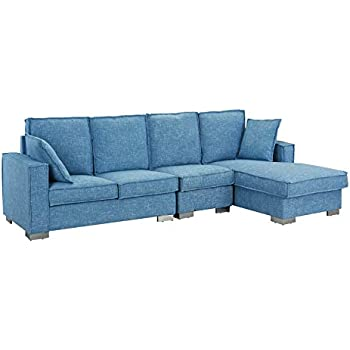 Amazon Com Modern Pu Leather Sectional Sofa Small Space