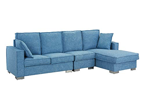 Modern Living Room Large Sectional Sofa, L-Shape Couch (Light Blue)