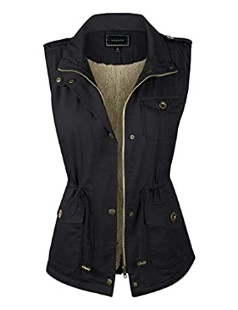 makeitmint Women's Anorak Military Utility Jacket Vest w/ Drawstring [S-3XL] SMALL YJV0018_33BLACK