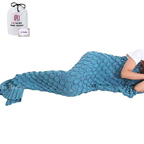 Mermaid Tail Blanket, AM Seablue Mermaid Blanket for Adult, Kids Mermaid Tail Blanket for Girls, Adult, Kid Super Soft All Seasons Sleeping Blankets 71″x35.5″ (2-Lake Blue)