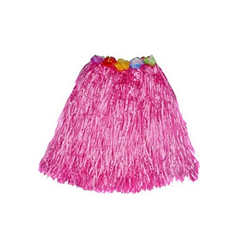 [Kid's Plastic Luau Hula Skirts Floral Waistbands Party Skirts Artificial Grass (Hot Pink)] (Tahitian Dancers Costumes)