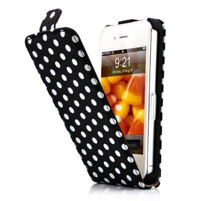Fosmon Étui avec rabat magnétique pour iPhone 4/4S Pois blancs sur fond noir