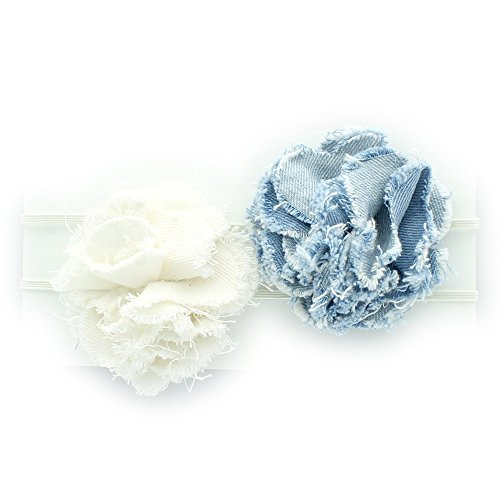 My Lello Infant Baby/Toddler Girls Headbands 2 pack lot Denim Frayed Fabric Flower Skinny Eastic (Vintage White/Faded Blues)