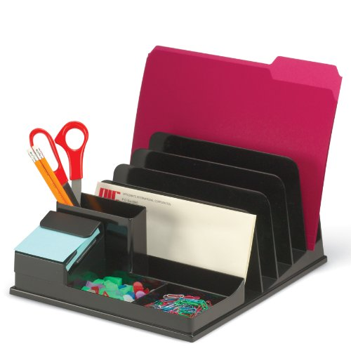 Officemate Front Load Sorter and Organizer with Pop-up Note Dispenser, Black (21342)