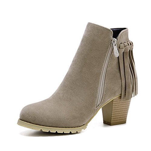 High Fringed Round Imitated Suede Women's Closed Boots Heels AmoonyFashion Zipper apricot Toe q1AUBnpxw