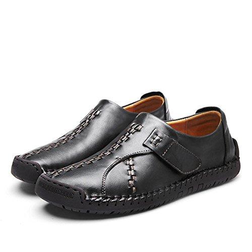 Élégant Cuir Été Respirant Retro Chaussures Slip Hommes on en Black Élégant pour LEDLFIE xq4EO6x