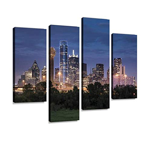 - Dallas Texas Skyline and Reunion Tower Canvas Wall Art Hanging Paintings Modern Artwork Abstract Picture Prints Home Decoration Gift Unique Designed Framed 4 Panel